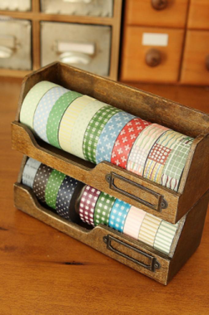 Deco tape houten opbergset 2 stuks meerleuks - Houten deco ...
