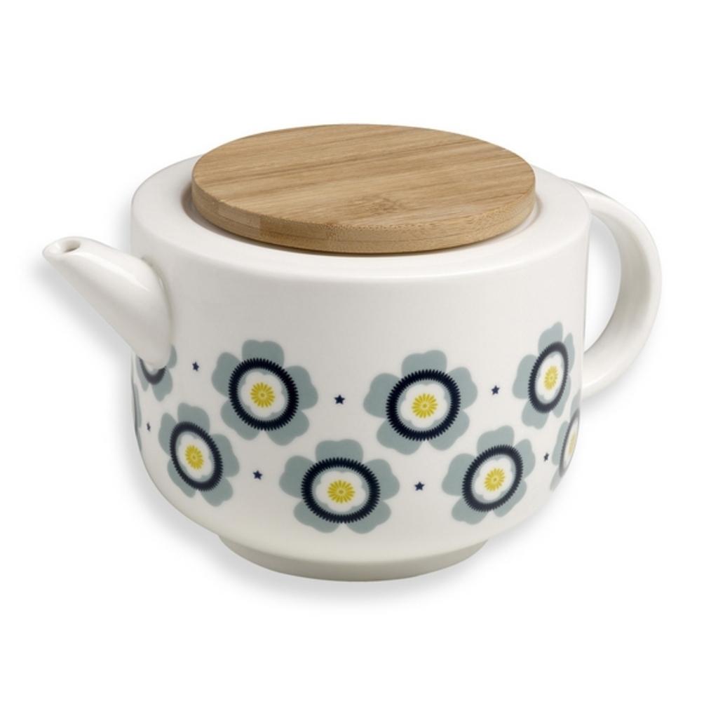 porseleinen theepot retro bloem mr mrs clynk meerleuks. Black Bedroom Furniture Sets. Home Design Ideas