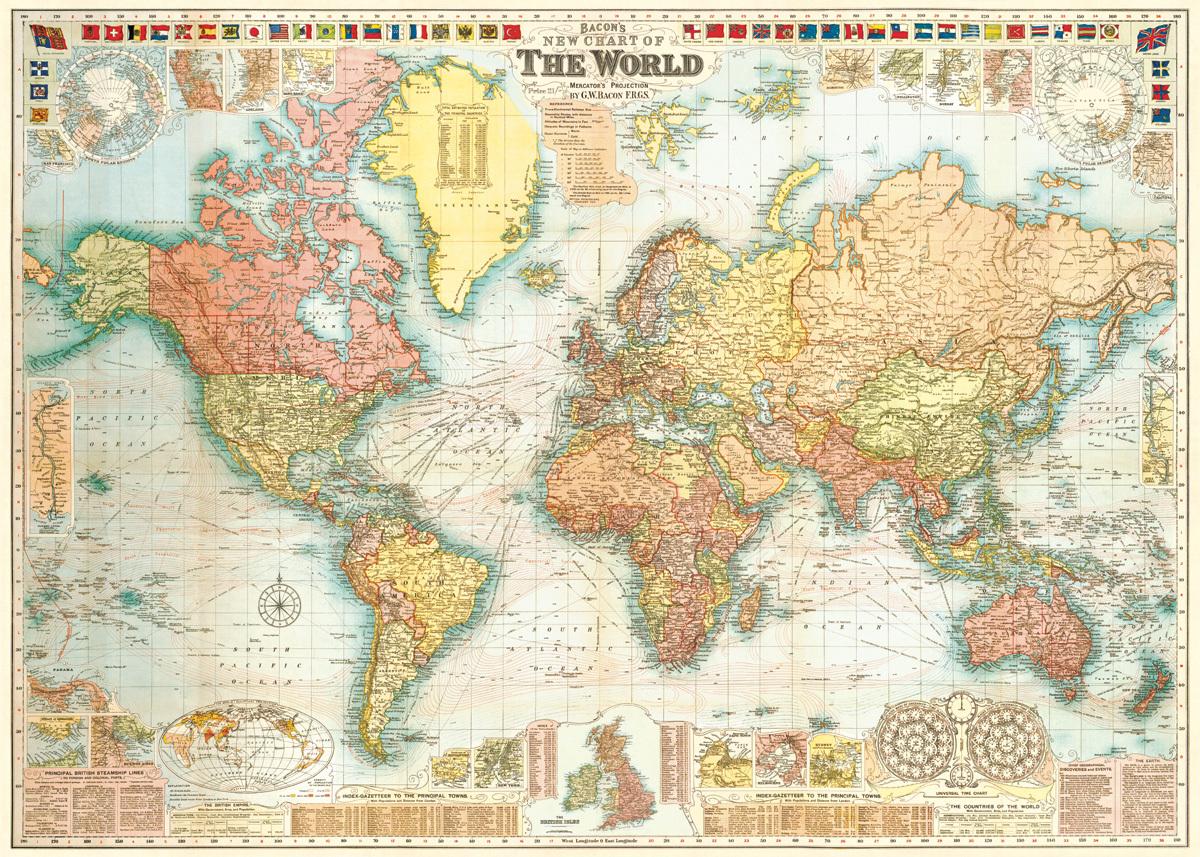 Wonderlijk Poster / inpakpapier Vintage wereldkaart - Cavallini & Co | Meerleuks NL-67